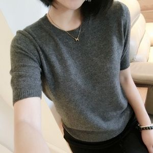 Evelyn Grace Charcoal Gray Cashmere Short Sleeve